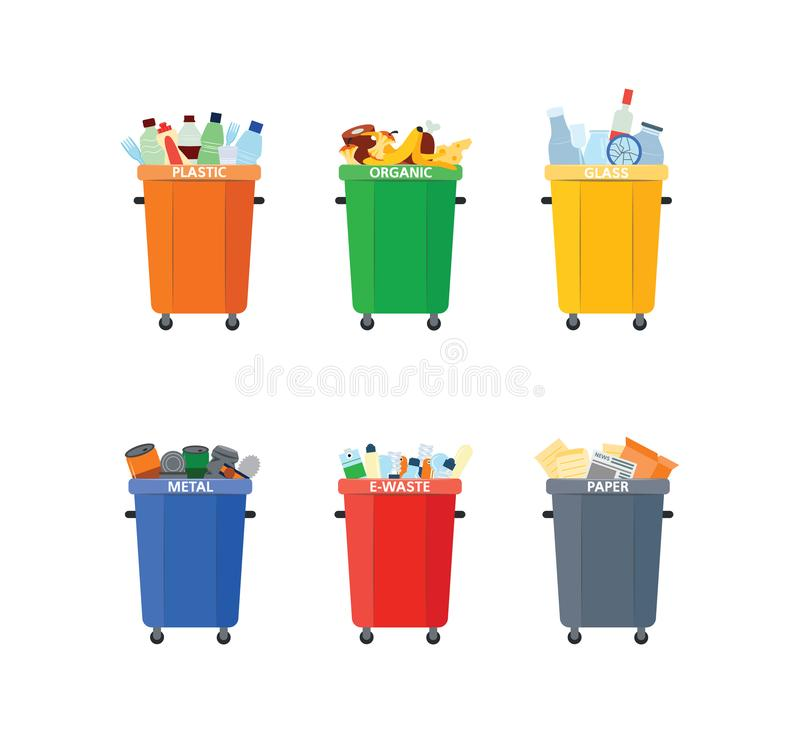 Vector waste bin, trash recycling and separation. Vector recycle bin for trash separtion. Paper, organic, metal and plastic waste garbage colored containers set vector illustration