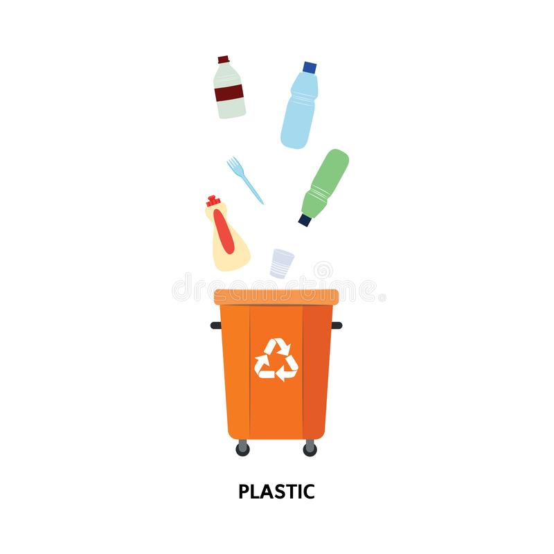 Vector waste bin, trash recycling and separation. Vector recycle bin for trash separtion. Plastic waste garbage container with bottles, disposable dishes . Dump royalty free illustration