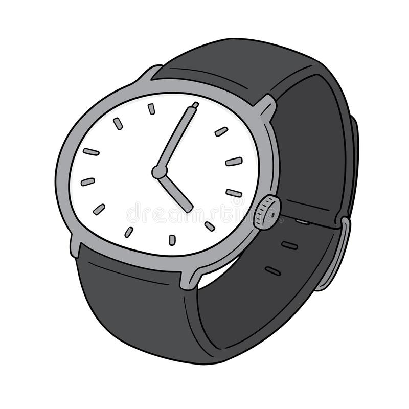 Vector of watch. Hand drawn cartoon, doodle illustration royalty free illustration