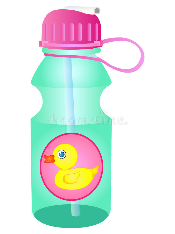 Vector Water Bottle Sipper. Vector Illustration Clipart Water Bottle Sipper for School Children stock illustration