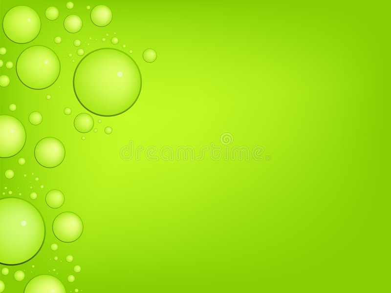 Vector water droplets. With reflex on a green background stock illustration