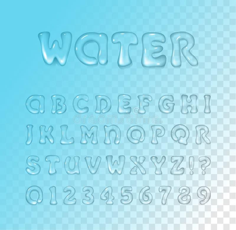 Vector water/gel-typsnitt på blå, genomskinlig bakgrund Typsnitt Blanketter stock illustrationer