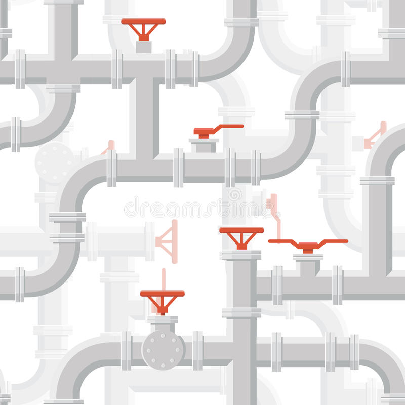 Vector Water Piping System Seamless pattern grey color. On background vector illustration