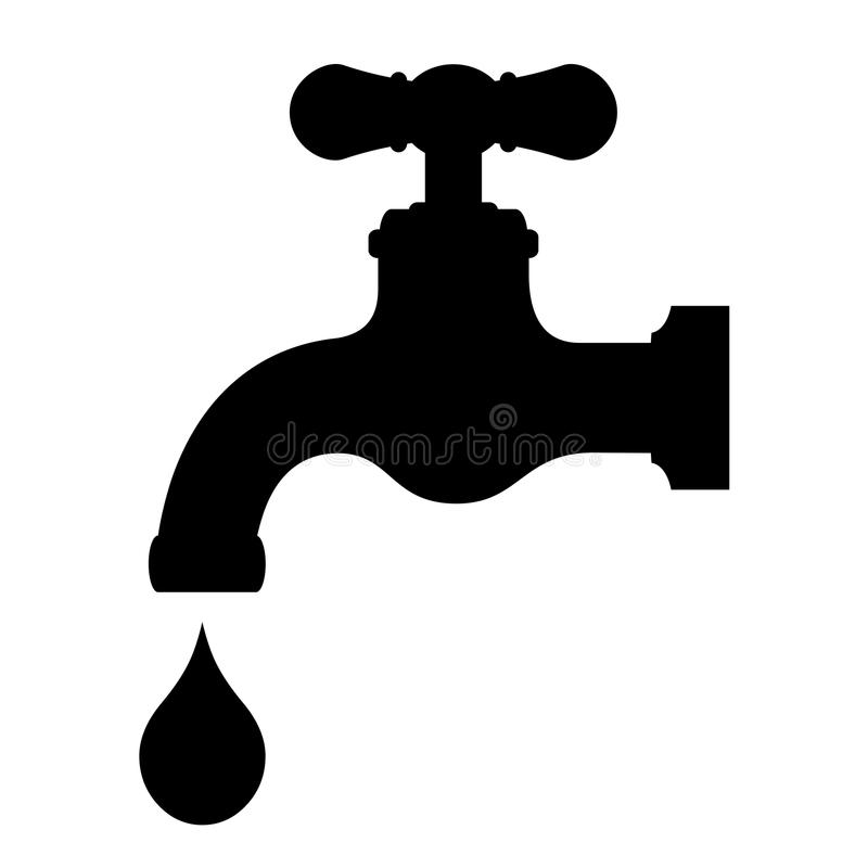 Vector water tap. On white background stock illustration
