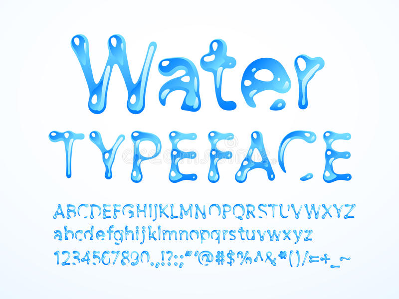 Vector water typeface. Letters A-Z, a-z, numbers and symbols. Eps8. RGB. Global colors stock illustration