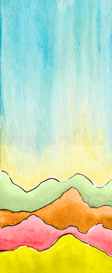Vector watercolor abstract defocused background with mountains. royalty free illustration
