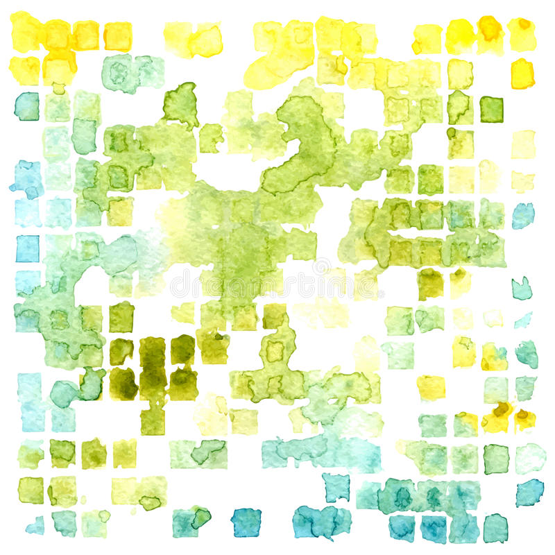 Vector watercolor abstract squares and splashes background royalty free illustration