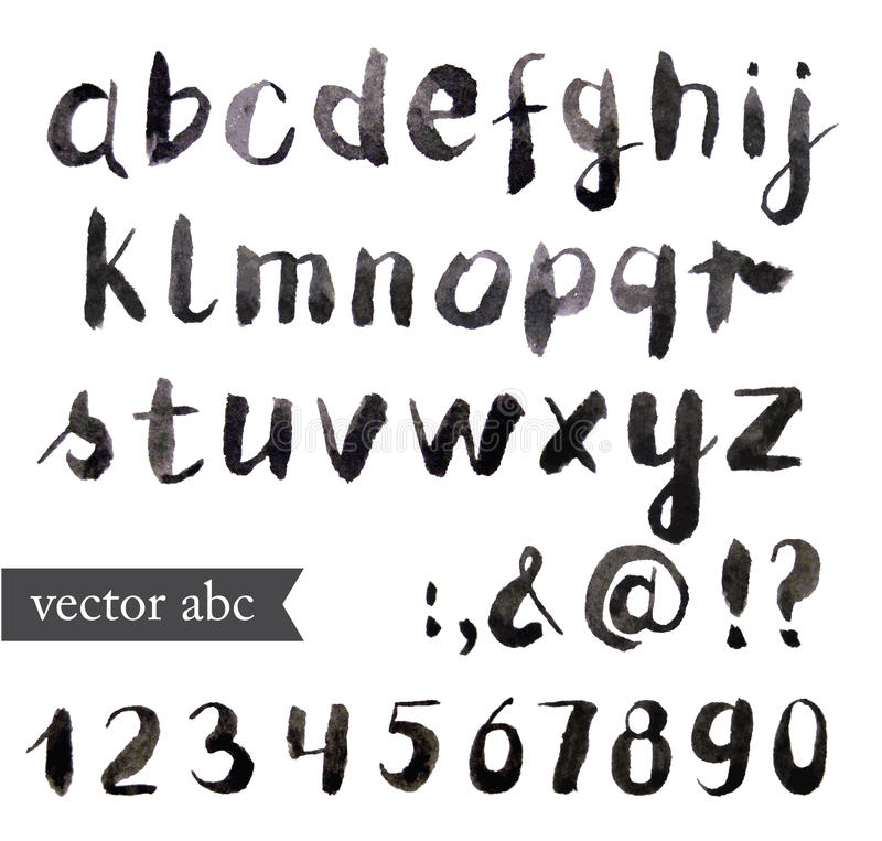 Vector Watercolor Alphabet. vector illustration