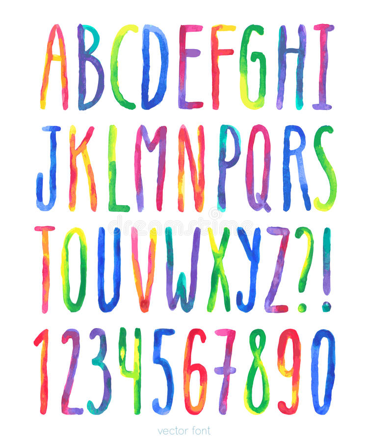Vector watercolor alphabet royalty free illustration