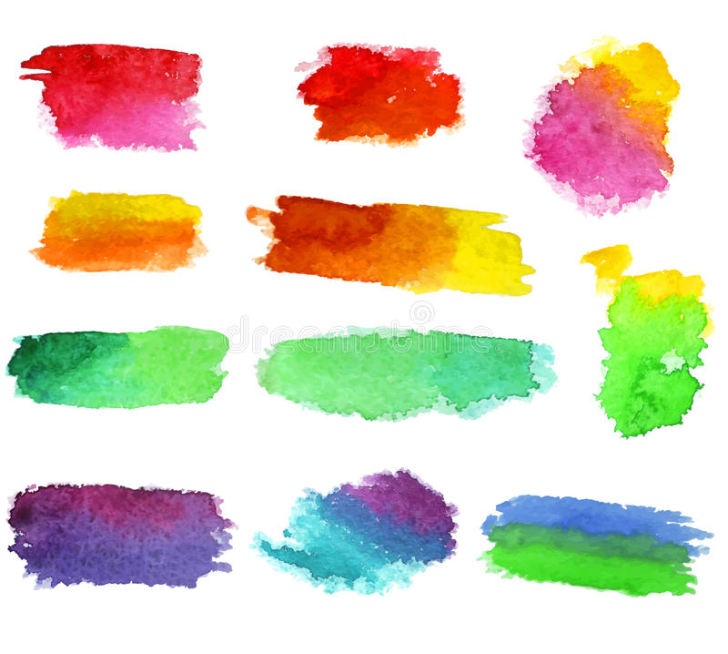 Vector watercolor aquarelle dabs. Abstract vector watercolor aquarelle hand drawn colorful shapes art paint splatter stain on white background royalty free illustration