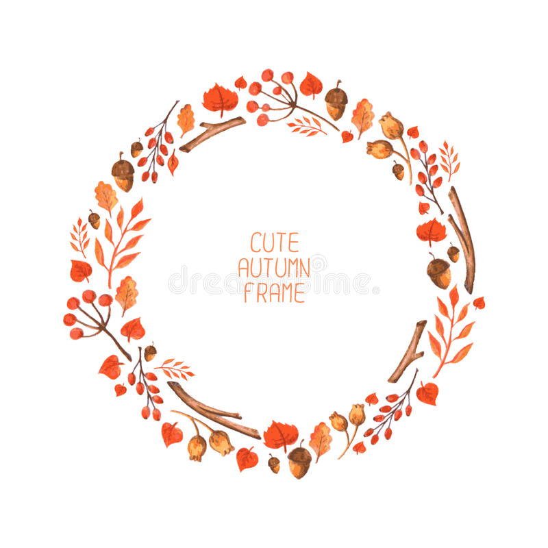 Free Vector Watercolor Autumn Frame. Illustration. Royalty Free Stock Photo - 43293305