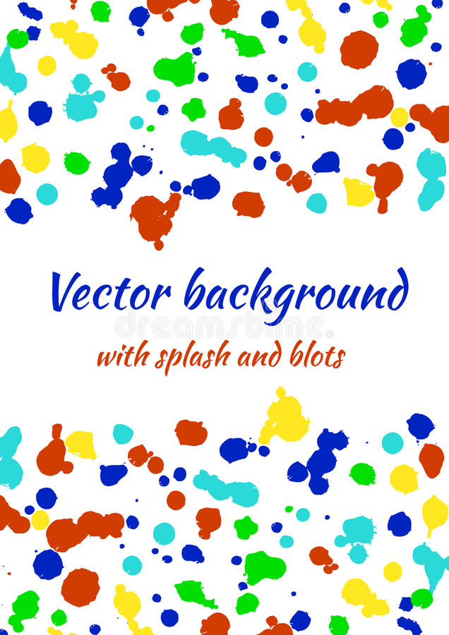 Vector watercolor background with colorful ink blots, splash and brush strokes royalty free illustration
