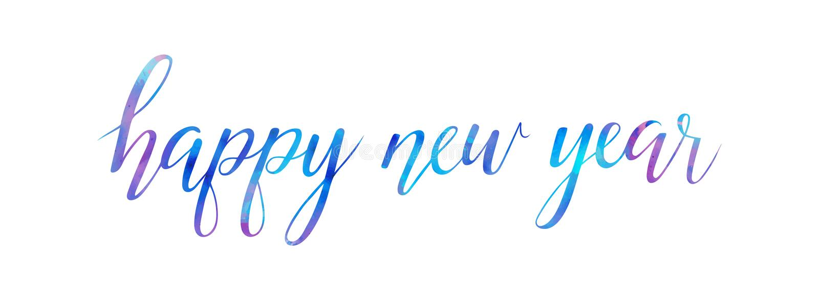 Vector watercolor Bright Happy New Year brush lettering text on white background royalty free illustration