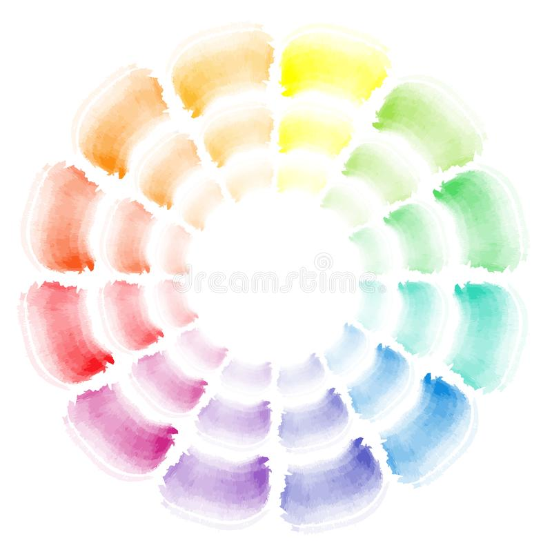 Vector watercolor brush strokes sampler color theory royalty free illustration