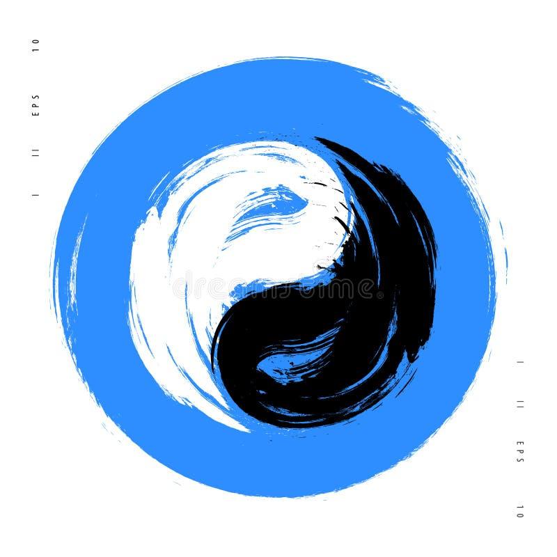 Vector watercolor brush yin yang symbol of harmony and balance. Black and white on blue background illustration stock illustration