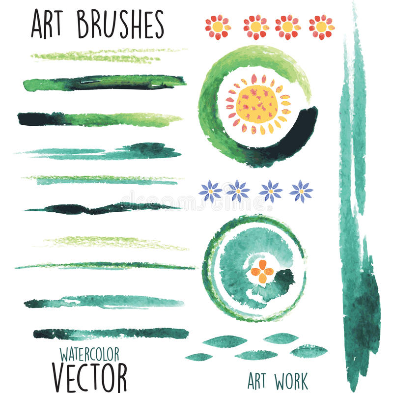 Vector watercolor brushes and floral elements royalty free illustration