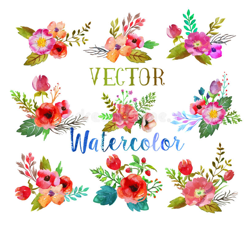 Vector watercolor buttonholes. stock illustration