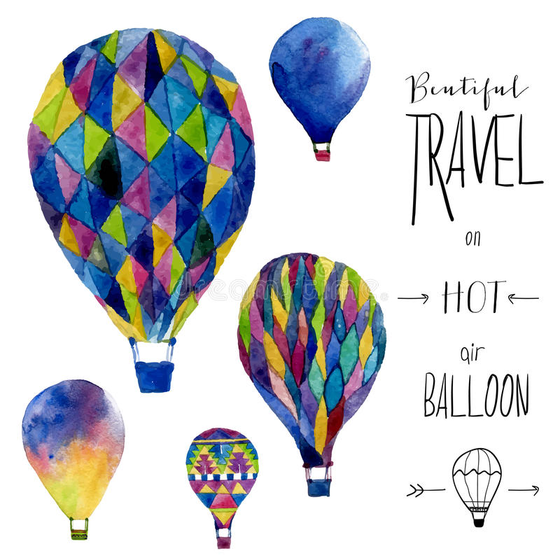 Vector watercolor card with hot air balloon. Hand drawn vintage collage illustration. Vector kids texture royalty free illustration