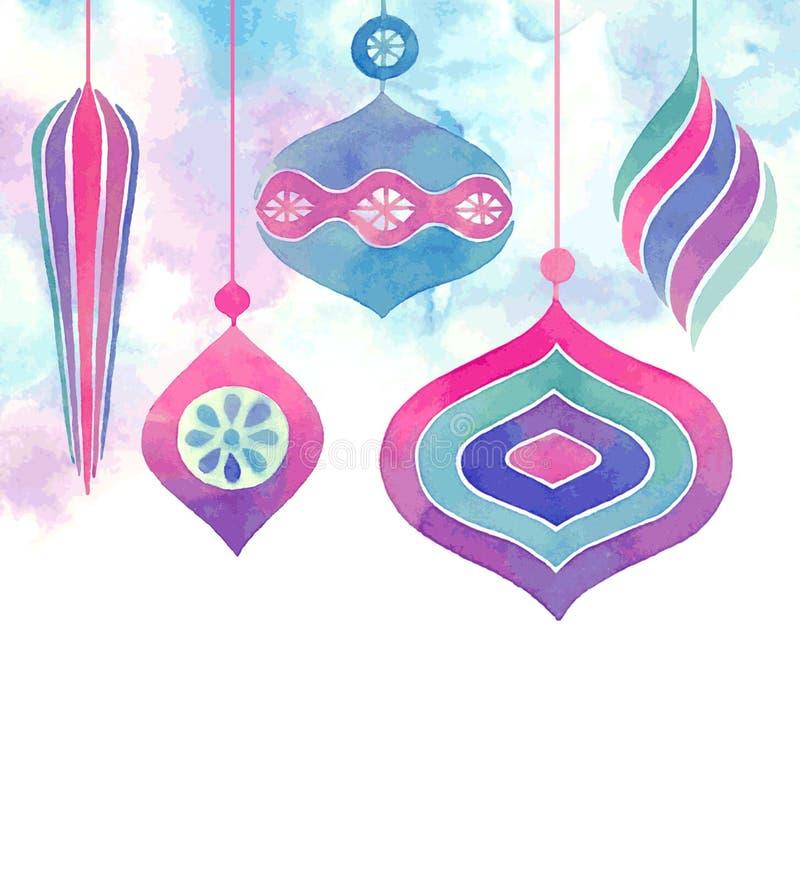 Vector Watercolor christmas card. stock illustration