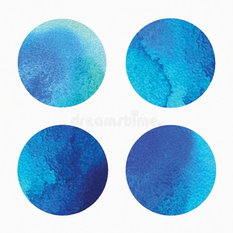 Vector watercolor circles, round shapes set isolated on white. Hand drawn watercolor backdrop, texture, stain. Watercolors on wet paper. Vector illustration royalty free illustration