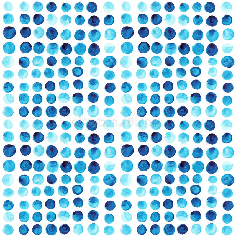 Vector watercolor circles seamless pattern (tiled). Retro hand d stock illustration