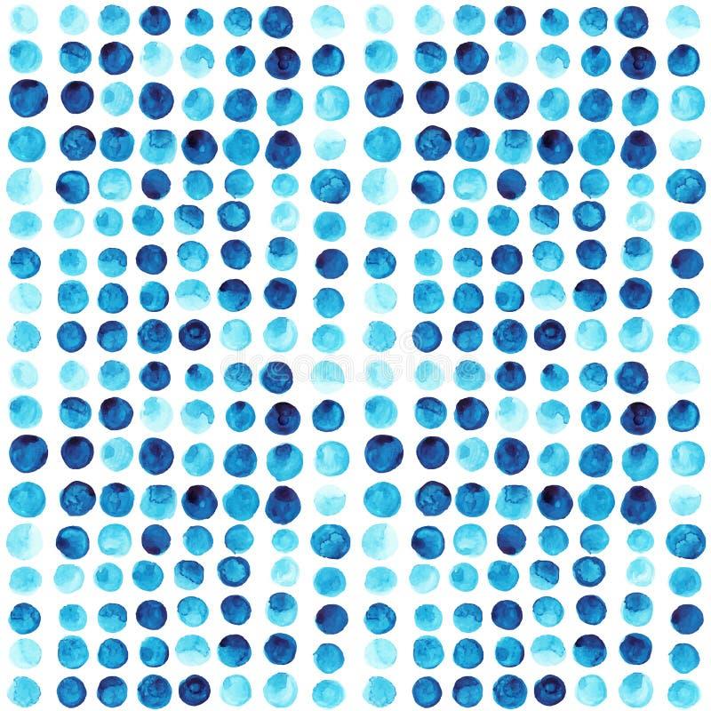 Vector watercolor circles seamless pattern (tiled). Retro hand d vector illustration