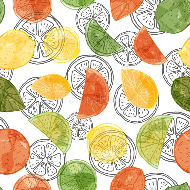 Vector watercolor citrus fruit seamless pattern background with sliced oranges, limes and lemons on black line art slices stock illustration