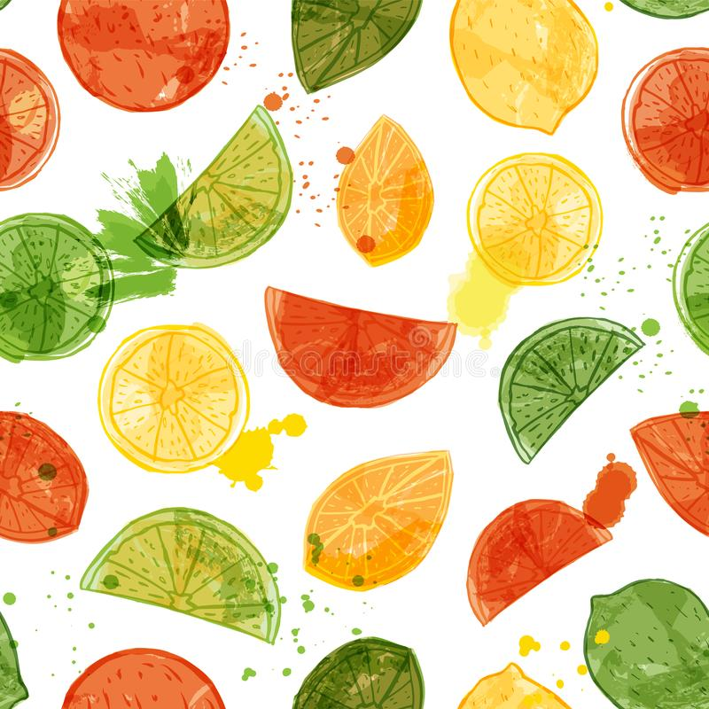 Vector watercolor citrus fruit seamless pattern background wth sliced oranges, limes and lemons royalty free illustration