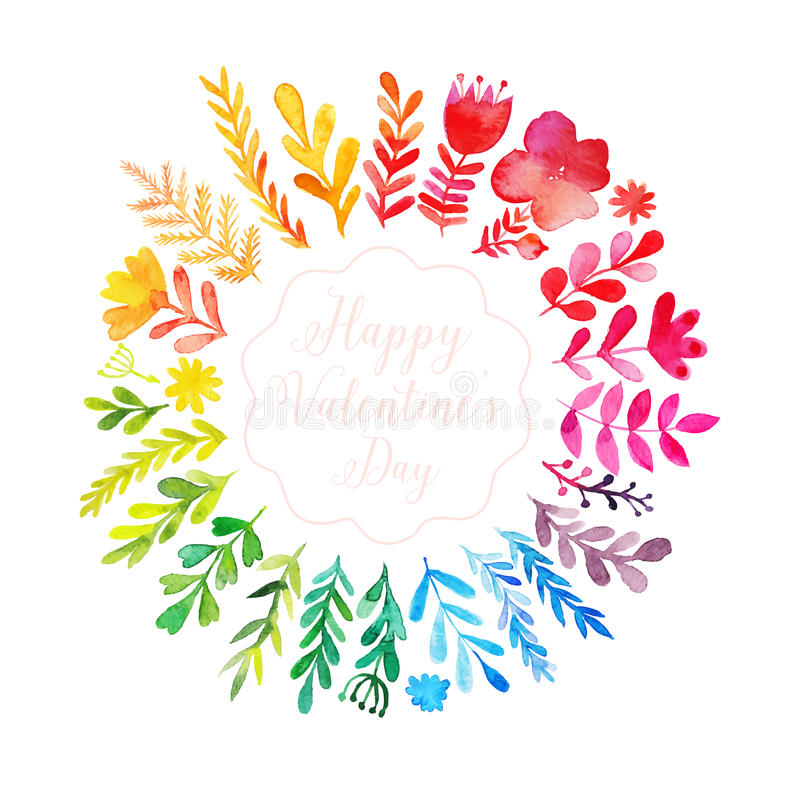 Free Vector Watercolor Colorful Circular Floral Wreath With Summer Flowers And Central White Copy Space For Your Text. Vector Royalty Free Stock Images - 51060539