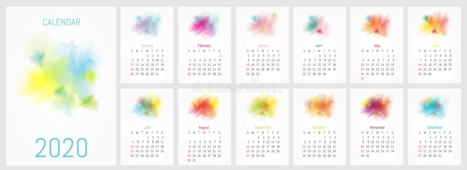 Vector watercolor design calendar 2020 royalty free stock images