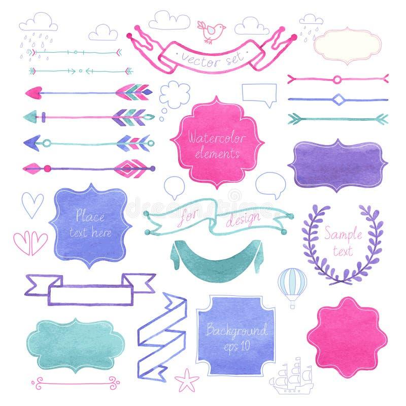 Vector Watercolor design elements. stock illustration