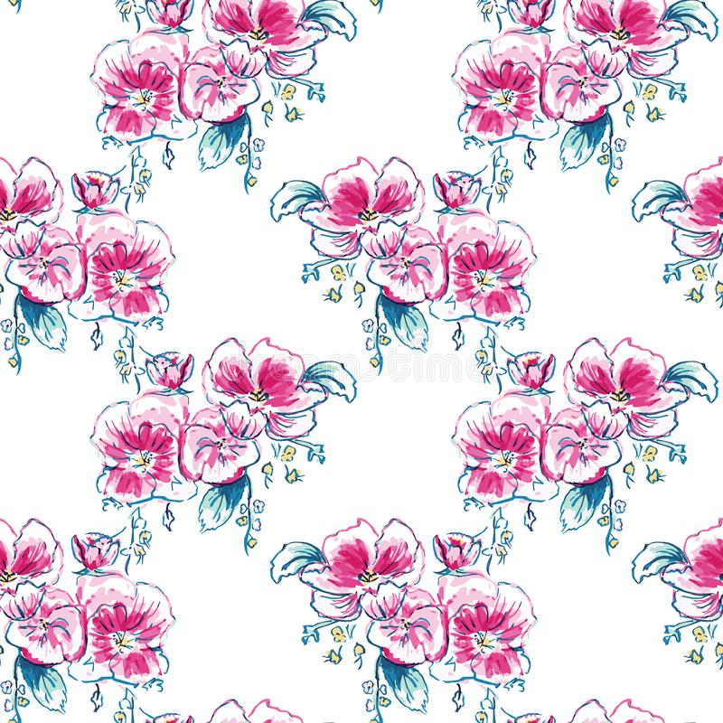 Vector Watercolor Dog-Roses Chevron seamless pattern background stock illustration