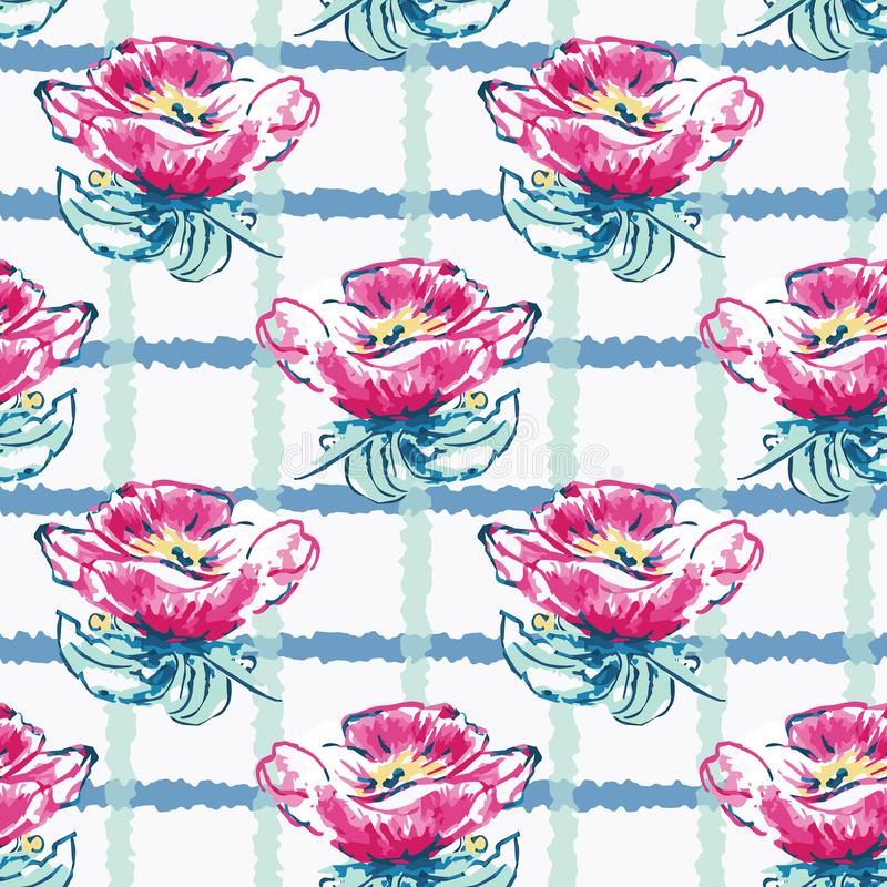 Vector Watercolor Dog-Roses with Plaid seamless pattern background royalty free illustration