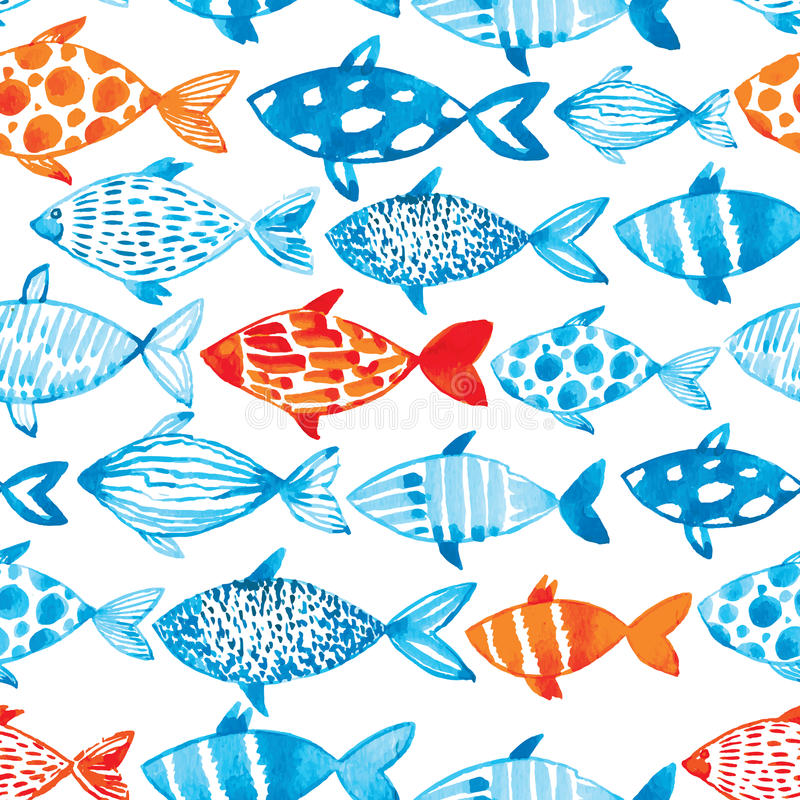 Vector watercolor fish on light background. Watercolor pattern s royalty free illustration