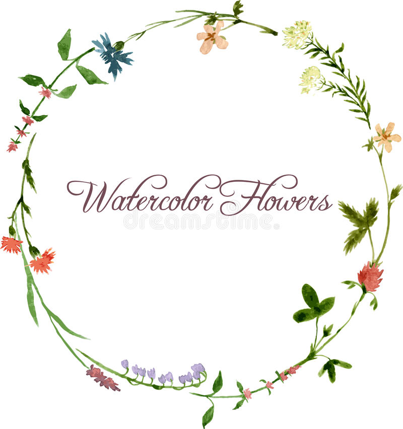 Vector watercolor floral frame royalty free illustration