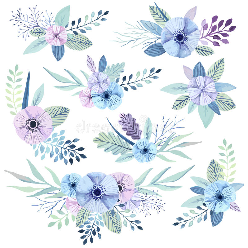 Vector watercolor flowers. stock vector. Illustration of bouquet ...