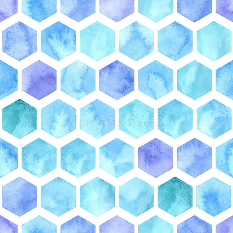 Vector Watercolor Geometric Seamless Pattern with Blue Hexagons royalty free illustration