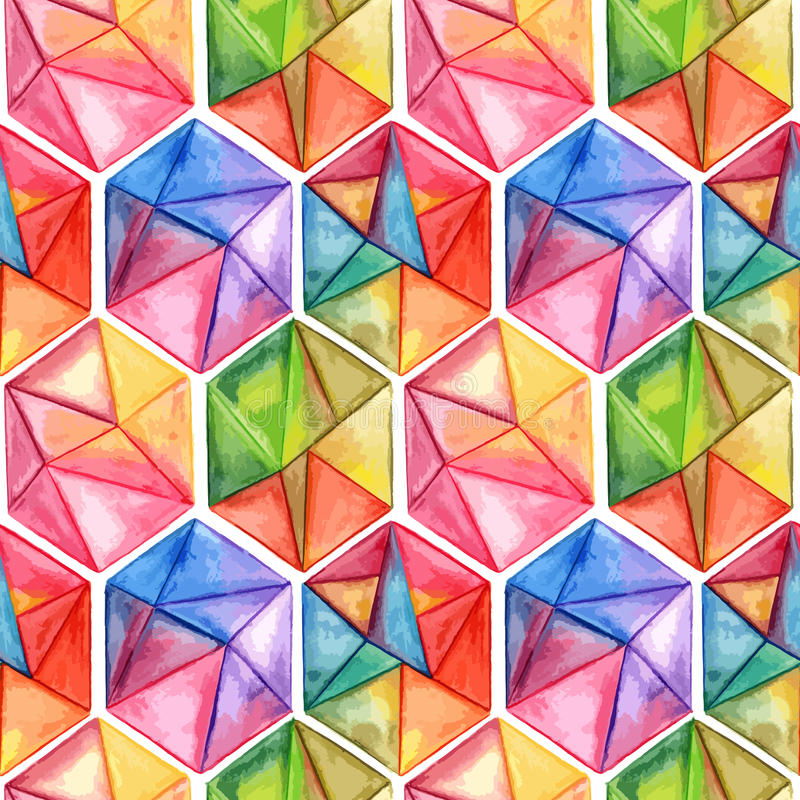 Vector Watercolor Geometric Seamless Pattern with Hexagons royalty free illustration