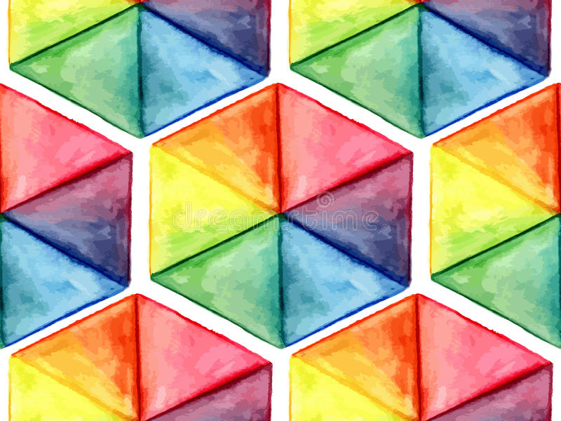 Vector Watercolor Geometric Seamless Pattern with Hexagons. Fully eps 10 file with clipping masks and seamless pattern in swatch menu stock illustration