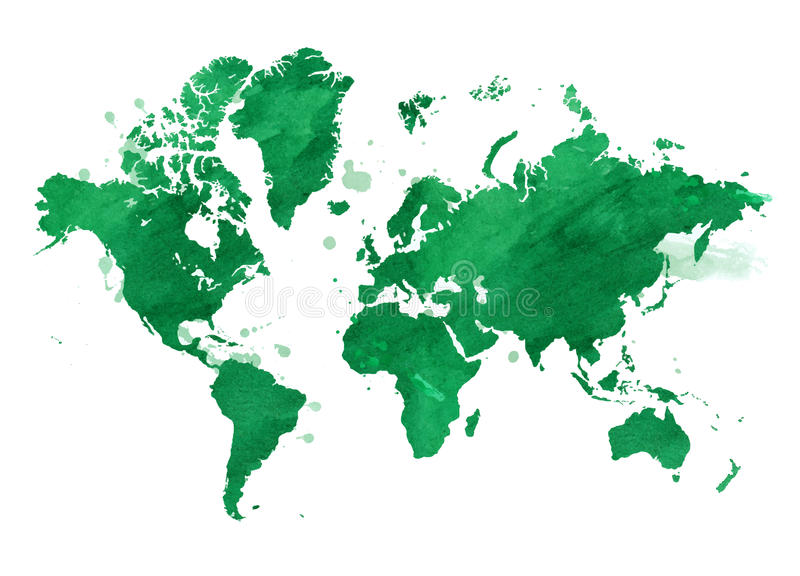 Vector watercolor green map of the world with a background. royalty free illustration