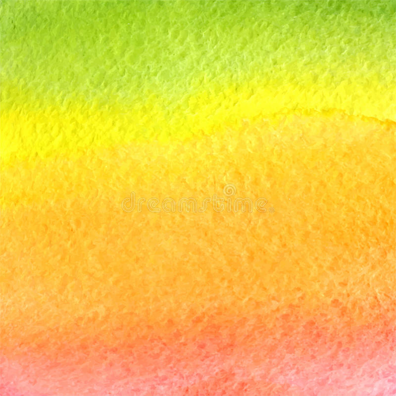 Vector watercolor green, orange, yellow and pink gradient background royalty free stock photography