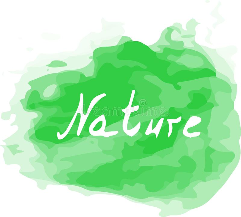 Vector Watercolor Green Splash with a Nature word on it. Creative art for your design. royalty free stock photography