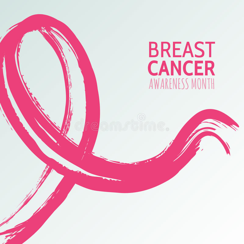 Vector watercolor hand drawn illustration of pink ribbon, breast cancer october awareness month. Abstract background for banner, poster, flyer design template royalty free illustration