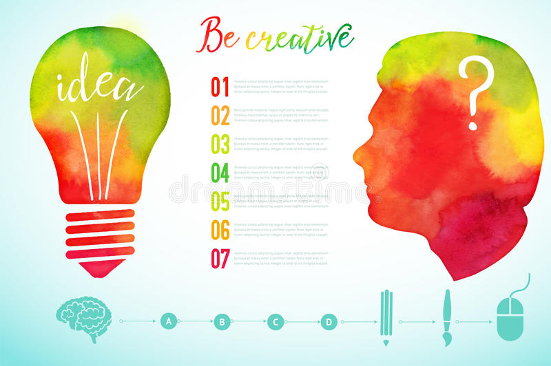 Vector watercolor human head icon. Watercolor creative concept. Creative person. Lettering. quote. Creative artist, Light bulb, cr. Eative research icons, Vector royalty free illustration