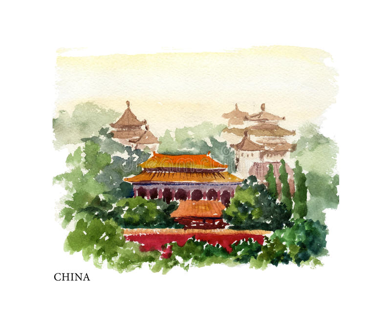 Vector watercolor illustration of China sightseeings and seacoast with text place. stock illustration