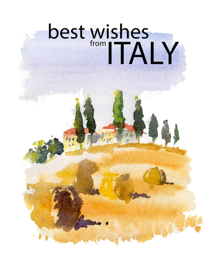 Vector watercolor illustration of Italy village shield country side sunny summer nature with text place. Good for warm memory postcard design, any graphic stock illustration