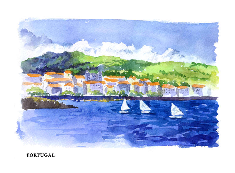 Vector watercolor illustration of Portugal sightseeings and seacoast with text place. vector illustration