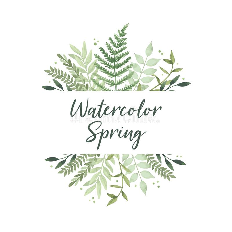 Vector watercolor illustration. Spring is coming. Botanical frame with green leaves, branches and herbs. Floral Design elements. Perfect for invitations stock illustration