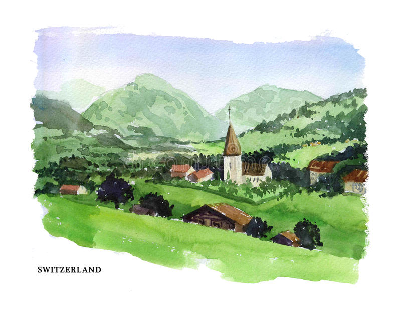 Vector watercolor illustration of Switzerland sightseeings and seacoast with text place. Good for warm memory postcard design, any graphic design or book royalty free illustration