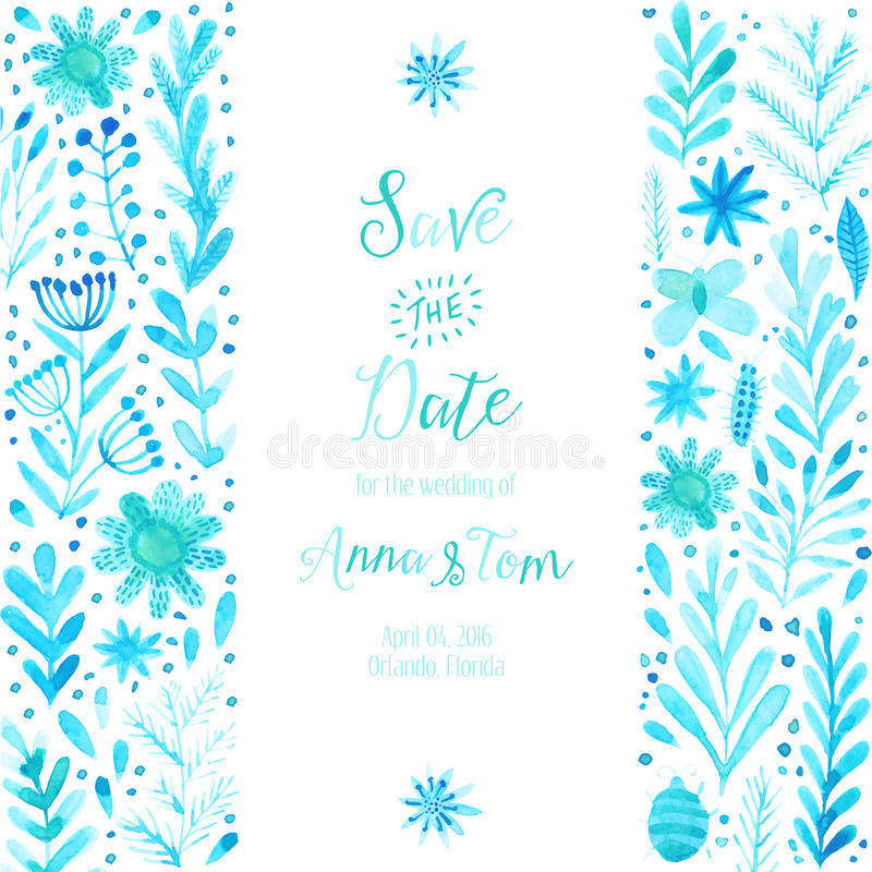 Vector watercolor invitation texture with flowers and plants download vector watercolor invitation texture with flowers and plants wedding invitation card floral stopboris Images